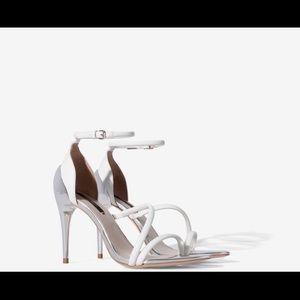 Zara White Mirrored heels Sandals size 37